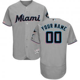 Wholesale Cheap Miami Marlins Majestic Road Authentic Collection Flex Base Custom Jersey Gray