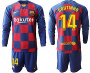 Wholesale Cheap Barcelona #14 Coutinho Home Long Sleeves Soccer Club Jersey