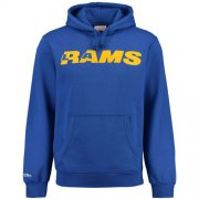 Wholesale Cheap Men's Los Angeles Rams Mitchell & Ness Royal Retro Pullover Hoodie