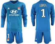 Wholesale Cheap Lyon #1 Lopes Blue Goalkeeper Long Sleeves Soccer Club Jersey