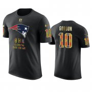 Wholesale Cheap Patriots #10 Josh Gordon Black Men's Black History Month T-Shirt