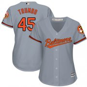 Wholesale Cheap Orioles #45 Mark Trumbo Grey Road Women's Stitched MLB Jersey