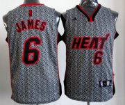 Wholesale Cheap Miami Heat #6 LeBron James Gray Static Fashion Jersey