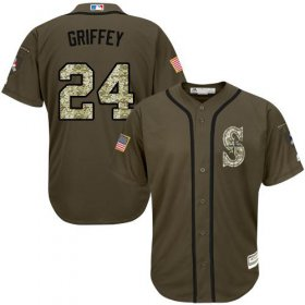 Wholesale Mariners #24 Ken Griffey Green Salute to Service Stitched Baseball Jersey