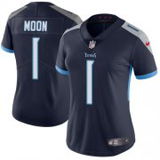 Wholesale Cheap Nike Titans #1 Warren Moon Navy Blue Team Color Women's Stitched NFL Vapor Untouchable Limited Jersey
