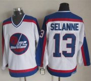 Wholesale Jets #13 Teemu Selanne White/Blue CCM Throwback Stitched NHL Jersey