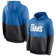 Wholesale Cheap Detroit Lions Nike Sideline Impact Lockup Performance Pullover Hoodie Blue Charcoal