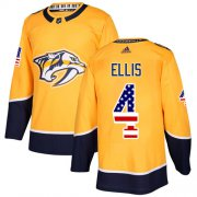 Wholesale Cheap Adidas Predators #4 Ryan Ellis Yellow Home Authentic USA Flag Stitched NHL Jersey
