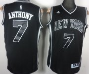 Wholesale Cheap New York Knicks #7 Carmelo Anthony All Black With White Fashion Jersey