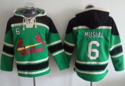 Wholesale Cheap Cardinals #6 Stan Musial Green Sawyer Hooded Sweatshirt MLB Hoodie