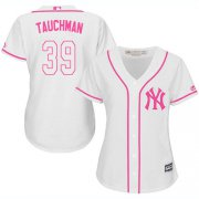 Wholesale Cheap Yankees #39 Mike Tauchman White/Pink Fashion Women's Stitched MLB Jersey