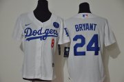 Wholesale Cheap Los Angeles Dodgers #8 #24 Kobe Bryant Women Nike White Cool Base 2020 KB Patch MLB Jersey