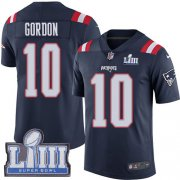 Wholesale Cheap Nike Patriots #10 Josh Gordon Navy Blue Super Bowl LIII Bound Men's Stitched NFL Limited Rush Jersey