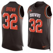 Wholesale Cheap Nike Browns #32 Jim Brown Brown Team Color Men's Stitched NFL Limited Tank Top Jersey