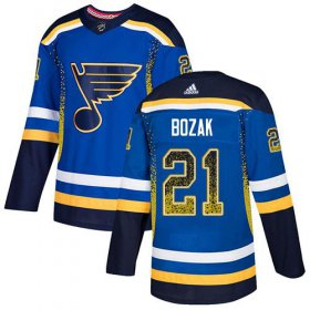 Wholesale Cheap Adidas Blues #21 Tyler Bozak Blue Home Authentic Drift Fashion Stitched NHL Jersey