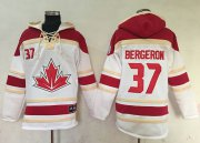 Wholesale Cheap Team CA. #37 Patrice Bergeron White Sawyer Hooded Sweatshirt 2016 World Cup Stitched NHL Jersey