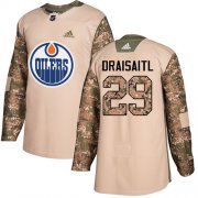 Wholesale Cheap Adidas Oilers #29 Leon Draisaitl Camo Authentic 2017 Veterans Day Stitched Youth NHL Jersey
