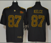 Wholesale Cheap Men's Kansas City Chiefs #87 Travis Kelce Black 2020 Nike Flocked Leopard Print Vapor Limited NFL Jersey