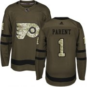 Wholesale Cheap Adidas Flyers #1 Bernie Parent Green Salute to Service Stitched NHL Jersey