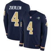Wholesale Cheap Nike Rams #4 Greg Zuerlein Navy Blue Team Color Men's Stitched NFL Limited Therma Long Sleeve Jersey