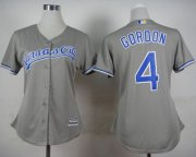 Wholesale Cheap Royals #4 Alex Gordon Grey Road Women's Stitched MLB Jersey