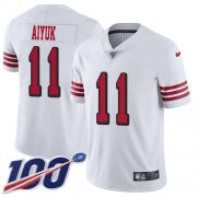 Wholesale Cheap Nike 49ers #11 Brandon Aiyuk White Youth Stitched NFL Limited Rush 100th Season Jersey