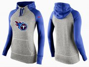 Wholesale Cheap Women's Nike Tennessee Titans Performance Hoodie Grey & Blue_2