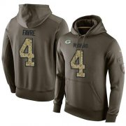 Wholesale Cheap NFL Men's Nike Green Bay Packers #4 Brett Favre Stitched Green Olive Salute To Service KO Performance Hoodie