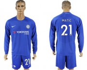 Wholesale Cheap Chelsea #21 Matic Home Long Sleeves Soccer Club Jersey
