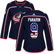 Wholesale Cheap Adidas Blue Jackets #9 Artemi Panarin Navy Blue Home Authentic USA Flag Women's Stitched NHL Jersey
