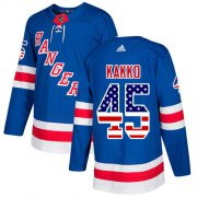 Wholesale Cheap Adidas Rangers #45 Kappo Kakko Royal Blue Home Authentic USA Flag Stitched NHL Jersey