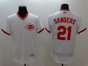 Wholesale Cheap Reds #21 Reggie Sanders White Flexbase Authentic Collection Cooperstown Stitched MLB Jersey