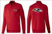 Wholesale NFL Baltimore Ravens Team Logo Jacket Red