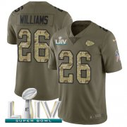 Wholesale Cheap Nike Chiefs #26 Damien Williams Olive/Camo Super Bowl LIV 2020 Men's Stitched NFL Limited 2017 Salute To Service Jersey