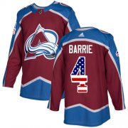 Wholesale Cheap Adidas Avalanche #4 Tyson Barrie Burgundy Home Authentic USA Flag Stitched Youth NHL Jersey
