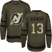 Wholesale Cheap Adidas Devils #13 Nico Hischier Green Salute to Service Stitched Youth NHL Jersey