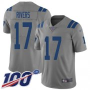 Wholesale Cheap Nike Colts #17 Philip Rivers Gray Men's Stitched NFL Limited Inverted Legend 100th Season Jersey