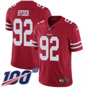 Wholesale Cheap Nike 49ers #92 Kerry Hyder Red Team Color Men's Stitched NFL 100th Season Vapor Untouchable Limited Jersey