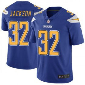 Wholesale Cheap Nike Chargers #32 Justin Jackson Electric Blue Men\'s Stitched NFL Limited Rush Jersey