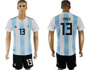 Wholesale Cheap Argentina #13 Casco Home Soccer Country Jersey