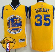 Wholesale Cheap Men's Warriors #35 Kevin Durant Gold 2017 The Finals Patch Stitched NBA Jersey