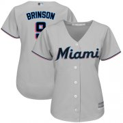 Wholesale Cheap Marlins #9 Lewis Brinson Grey Road Women's Stitched MLB Jersey