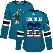 Wholesale Cheap Adidas Sharks #22 Jonny Brodzinski Teal Home Authentic USA Flag Women's Stitched NHL Jersey