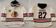 Wholesale Cheap Blackhawks #27 Jeremy Roenick Cream Heavyweight Pullover Hoodie Stitched NHL Jersey