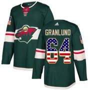 Wholesale Cheap Adidas Wild #64 Mikael Granlund Green Home Authentic USA Flag Stitched Youth NHL Jersey