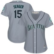 Wholesale Cheap Mariners #15 Kyle Seager Grey Road Women's Stitched MLB Jersey