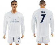 Wholesale Cheap Real Madrid #7 Rual Marine Environmental Protection Home Long Sleeves Soccer Club Jersey