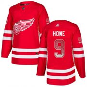 Wholesale Cheap Adidas Red Wings #9 Gordie Howe Red Home Authentic Drift Fashion Stitched NHL Jersey