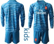 Wholesale Cheap Arsenal Blank Light Blue Goalkeeper Long Sleeves Kid Soccer Club Jersey