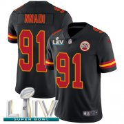 Wholesale Cheap Nike Chiefs #91 Derrick Nnadi Black Super Bowl LIV 2020 Youth Stitched NFL Limited Rush Jersey
